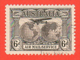 AUS SC #C3  1931 Plane Over Globes W/nice Centering, Light Cancel, CV $14.00 - Used Stamps