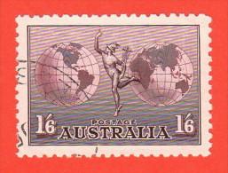 AUS SC #C4 1934 Mercury And Hemispheres W/very Nice Centering, Light Cancel, XF Stamp, CV $8.00 - Airmail