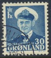 Greenland Groenland Grönland 1953, 30ø Blue Frederik IX, F-VF Used (DCGR-00006) - Used Stamps
