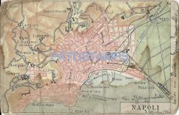 115 ITALY NAPOLI NAPOLES CAMPANIA VIEW MAP MAP DAMAGED CARTOLINA POSTAL POSTCARD - Napoli (Naples)