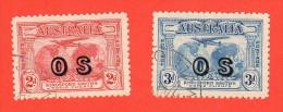 AUS SC #O1-2 U  1931 Plane Over Hemispheres W/overprint, CV $125.00 - Officials