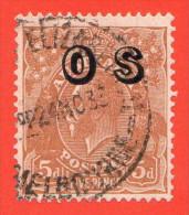 """AUS SC #O10 U  1932 King George V W/overprint W/TC (""""MELBOURNE / 24 NO 33""""), CV $52.50 - Officials"""