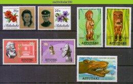 Mhl112 * SMALL ASSORTMENT * KUNST ART TELEPHONE COMMUNICATION FLOWERS AITUTAKI PF/MNH - Aitutaki