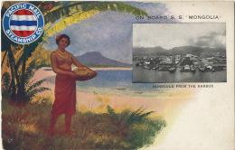 Paquebot Card Advert Pacific Mail Steamship On Board S.S. Mongolia Honolulu Nude Woman Femme Nue - Etats-Unis