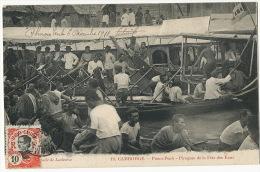 19 Phnom Penh Pirogues Fete Des Eaux Timbrée Texte Albert Sarraut Gouverneur Vers Société Generale Sens - Cambodge