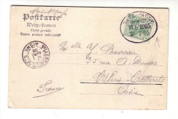 Allemagne 1905 Carte Postale Metz Monument Fabert  Villers Cotterets Aisne Bahnpost - Brieven En Documenten