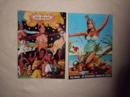 2 CARTES PUBLICITE RESTAURANT PAU BRASIL ..A PARIS...