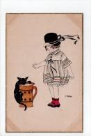 E. Weber: N° A 1002/3 - Fillette Et Chat Noir - Mädchen (17) - Illustrators & Photographers