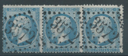 Lot N°27513   Bande De Trois N°22, Oblit GC 3572 ST DIZIER (50) - 1862 Napoleone III