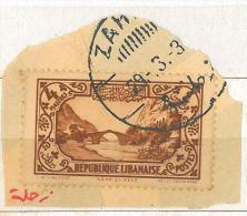 "Lebanon RARE Postmark On Piece: 1930s ""ZAHLE"" On ""4p Dog River Stamp"" - GLC Type - Lebanon"