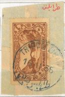 """Lebanon RARE Postmark On Piece: 1935 """"TRIPOLI LIBAN"""" On """"4p Dog River Stamp"""" - Circular - Lebanon"""