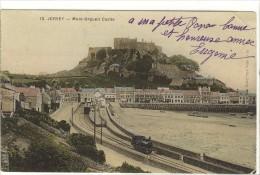 Carte Postale Ancienne Jersey - Mont Orgueil Castle - Gare, Chemin De Fer - Jersey