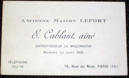 Vieux Papiers - Carte De Visite Paris Entreprise De Maçonnerie  Lefort Rue De Nice - Cartes De Visite