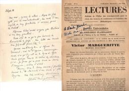 Victor Margueritte.Lettre Autographe Signée.1 Page.17 Lignes.1933.+ Une Revue Dédicacée.lettre Et Revue à Claude Gevel. - Autographes