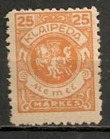 Timbres - Lituanie - KLAIDEPA - Memel - Occupation Lituanienne - 1923 - 25 M. - - Lituanie