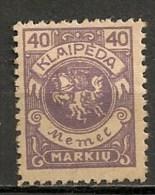 Timbres - Lituanie - KLAIDEPA - Memel - Occupation Lituanienne - 1923 - 40 M. - - Lituanie