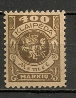 Timbres - Lituanie - KLAIDEPA - Memel - Occupation Lituanienne - 1923 - 400 M. - - Lituanie