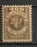 Timbres - Lituanie - KLAIDEPA - Memel - Occupation Lituanienne - 1923 - 400 M. -