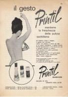 1963  -  PRINTIL Deodorante (laboratoires Paris) -  1 Pagina Pubblicità Cm. 13 X 18 - Riviste