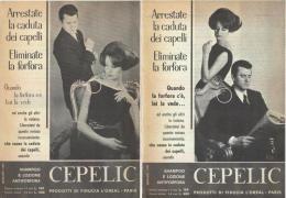 1963  -  CEPELIC Shampoo E Lozione Antiforfora  (L'Oreal Paris) -  2 Pagine Pubblicità Cm. 13 X 18 - Riviste