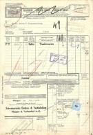 """Frachtbrief  """"Schweiz. Decken- & Tuchfabriken, Pfungen & Turbenthal"""" - Olten               1943 - Chemins De Fer"""