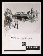 Pub Papier 1956 Automobiles Voiture RENAULT Dauphine Automobile Dessin Gendarme Peintre Femme Chien - Publicités