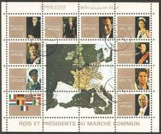 Ajman 1973 Mi# 2596-2604 Used - Mini Sheet - Heads Of The European Community Member States - Ajman