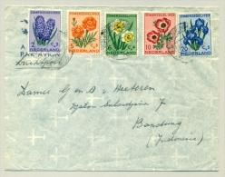Nederland - 1953 - Zomerzegels Serie Bloemen Op LP-brief Naar Bandung - Periodo 1949 - 1980 (Giuliana)