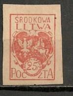 Timbres - Lituanie - 1920 - Lituanie Centrale - 25 R. - - Lituanie