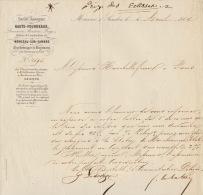1864 Courrier Train Compagnie Chemin De Fer D´italie Section Valais Fourneaux Monseau Sur Sambre Eclisse - Documents Historiques