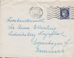 France PARIS Rue Cler 1938 Cover Lettre To Denmark 1.75 Fr. Ceres Iris Timbre (Seul) - 1939-44 Iris