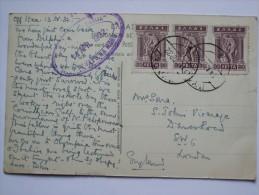GREECE 1932 POSTCARD SENT FROM S.S. Kraljica Marija WITH CACHET TO LONDON ENGLAND - Griechenland