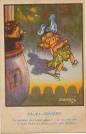 Folies Bergere  Carte Humour Illustrée Petite Fille Dansant  Signée - Kabarett