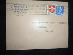 DEVANT TP MARIANNE DE MULLER 20F + LILLE 5F OBL.MEC.12-3-1959 RIOM PUY DE DOME (63) Ets G. HERVE & Cie - Marcophilie (Lettres)