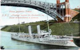 """Orig. Farb. Post-Karte  """"Kleiner Gesch. Kreuzer S.M.S.""""Amazon"""" Passiert Die Hochbrücke - Levensau""""  Frankiert - Krieg"""