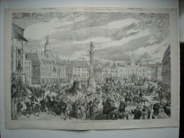 GRAVURE 1858. FETES DE LILLE. CORTEGE ET CAVALCADE REPRESENTANT LE PASSE HISTORIQUE DE CETTE VILLE. EXPLICATIF AU DOS... - Estampes & Gravures