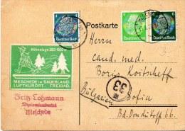 Postkarte 1938 Hindenburg 3+4+6  Pf. Advertising Postcard To Bulgaria DR Germany - Deutschland