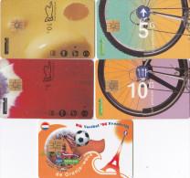 Nederland 5 Verschillende Telefoonkaarten 5-10 Gulden W.o WK 98 Voetbal - Nederland