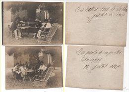 2 Photos Du 15 Juillet 1917 - La Partie De Raquettes (Au Repos) La Lecture Sous Le Saphora (74357) - Personnes Anonymes