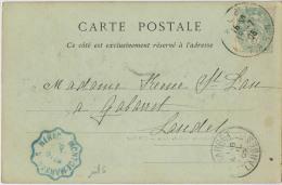 CACHET CONVOYEUR MONT DE MARSAN NERAC EN BLEU - Marcophilie (Lettres)