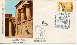 ENVELOPE SOBRE ASOC.FILATELICA TEMATICA ARGENTINA EGIPTO RESCATE DE LOS TESOROS DE NUBIA AÑO 1963 NON CIRCULEE GECKO