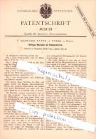 Original Patent   - F. Seaward Yates In Unkel A. Rhein , 1884 , Hufnagel-Maschine  !!! - Lotterielose