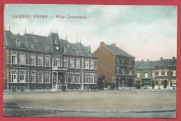 Haine St. Pierre - Place Communale - Jolie Carte Couleur ( Voir Verso ) - Manage