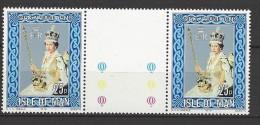 ISLE OF MAN - Mi-Nr. 128 Mit Zwischensteg - 25. Jahrestag Der Krönung Von Königin Elisabeth IIpostfrisch - Man (Insel)