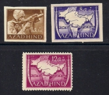AZAD HIND (India),  1943, Unused  Stamps, Private Issue, Free India, 3 Values Only, MI 1=7, #13270 Not Complete - American/British Zone