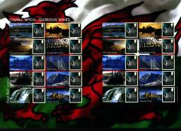 GREAT BRITAIN - 2007  GLORIOUS WALES GENERIC SMILERS SHEET   PERFECT CONDITION - Fogli Completi