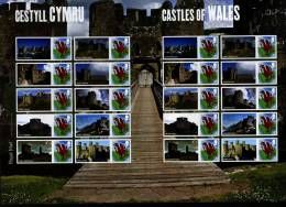 GREAT BRITAIN - 2010  CASTLES OF WALES  GENERIC SMILERS SHEET   PERFECT CONDITION - Fogli Completi