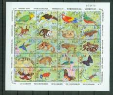 Nicaragua 1991,20V In Sheetlet,birds,frog,monkey,butterfly,MNH/PostfrisL1466us - Non Classés