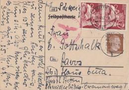 DR Karte Mif Minr.782,2x 816 Stettin 25.11.42 Gel. In Schweiz Zensur - Briefe U. Dokumente