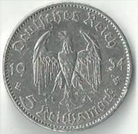5 Reichsmark 1934 A / Umlaufmünze / Garnisonskirche Potsdam - 2 Reichsmark